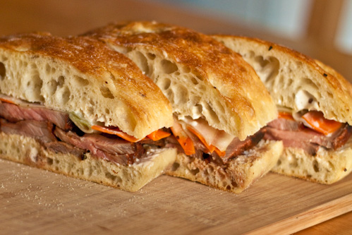 asian grilled beef sandwich sliced